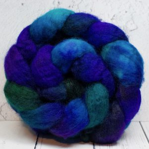 Blue green hand spinning wool