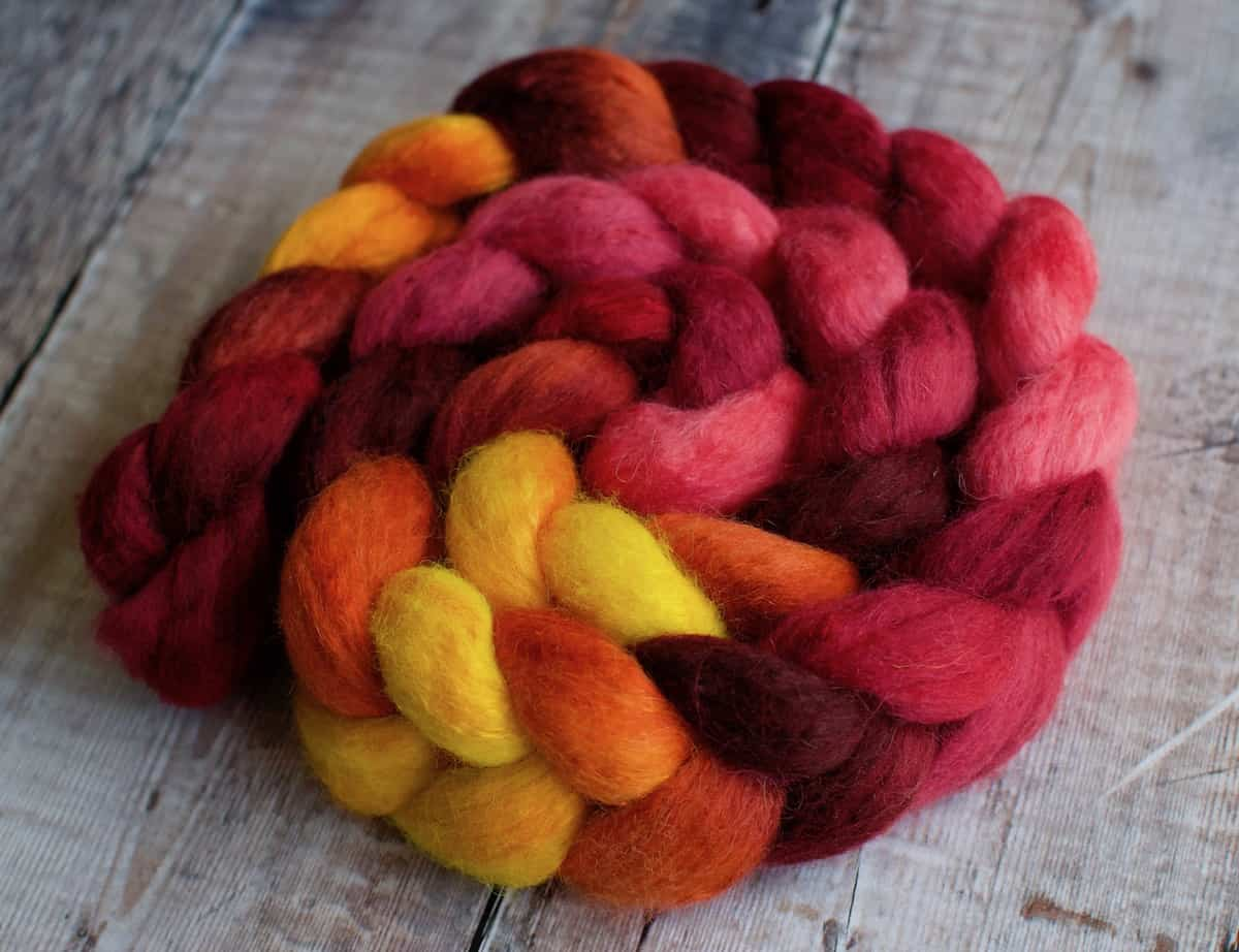 Red wool top for spinning