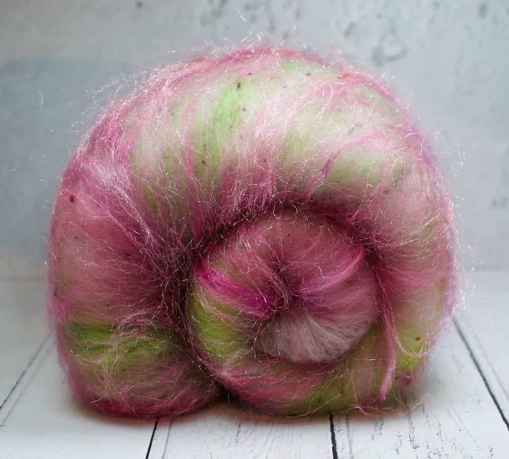 carded wool for spinning pink green
