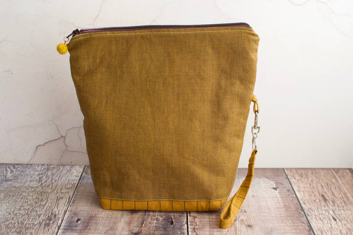 yellow travel knitting bag