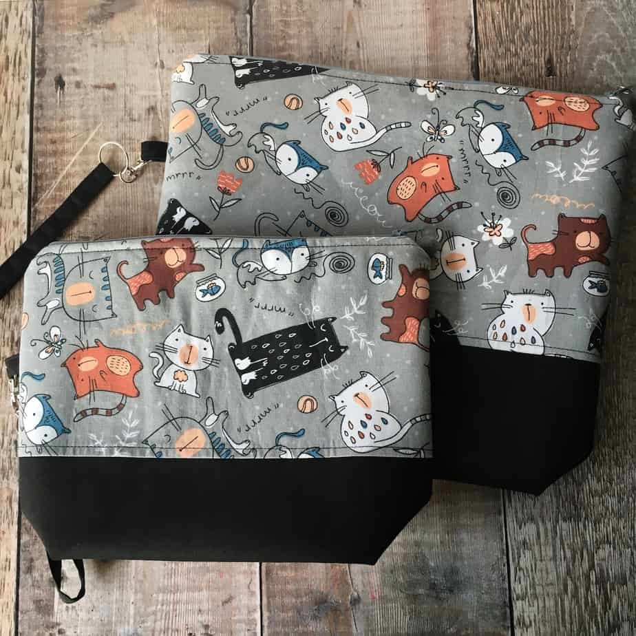 Cat themed knitting project bags