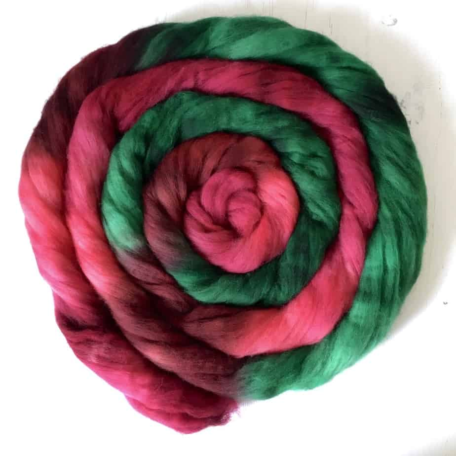 Rosa red green wool top for spinning UK