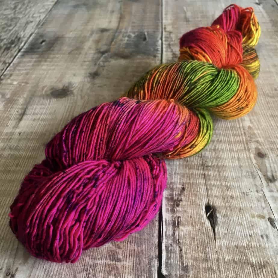 neon pink purple yellow yarn sock weight for sale