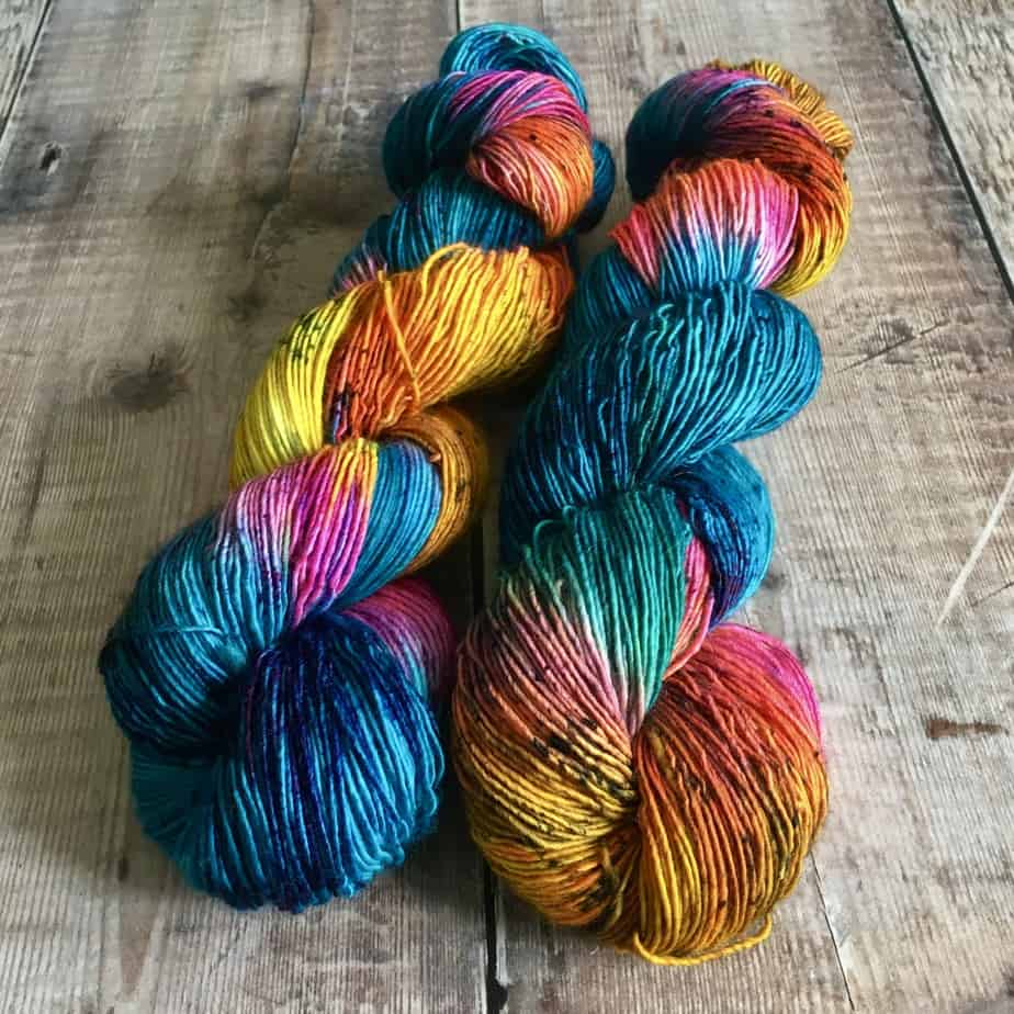 rainbow single ply sock yarn for sale by Eleanor Shadow