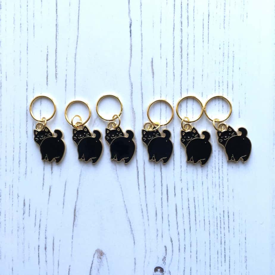 Black Cat Stitch Markers – set of 6 – knitting notions place holder for sale
