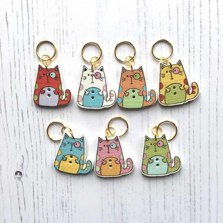 Fun cat stitch markers – set of 7 – lightweight, cute knitting notions