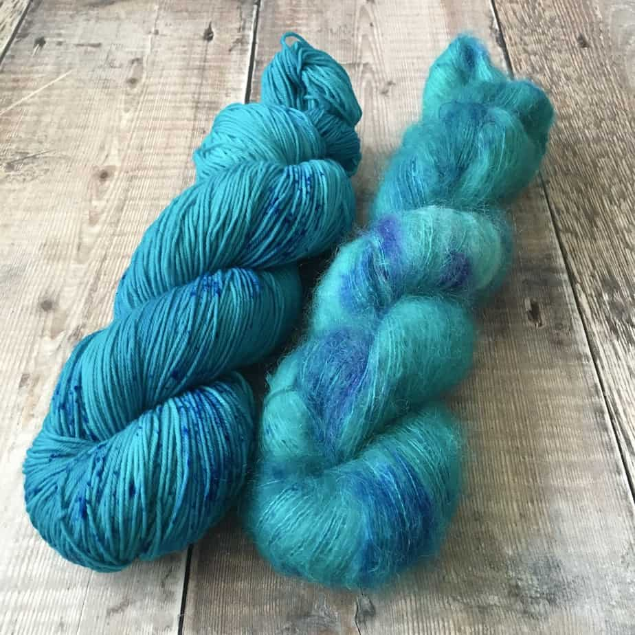 Blue yarn for sale – hand dyed turquoise yarn – sock fingering weight yarn and lace weight yarn – hand dyed in the UK – by Eleanor Shadow