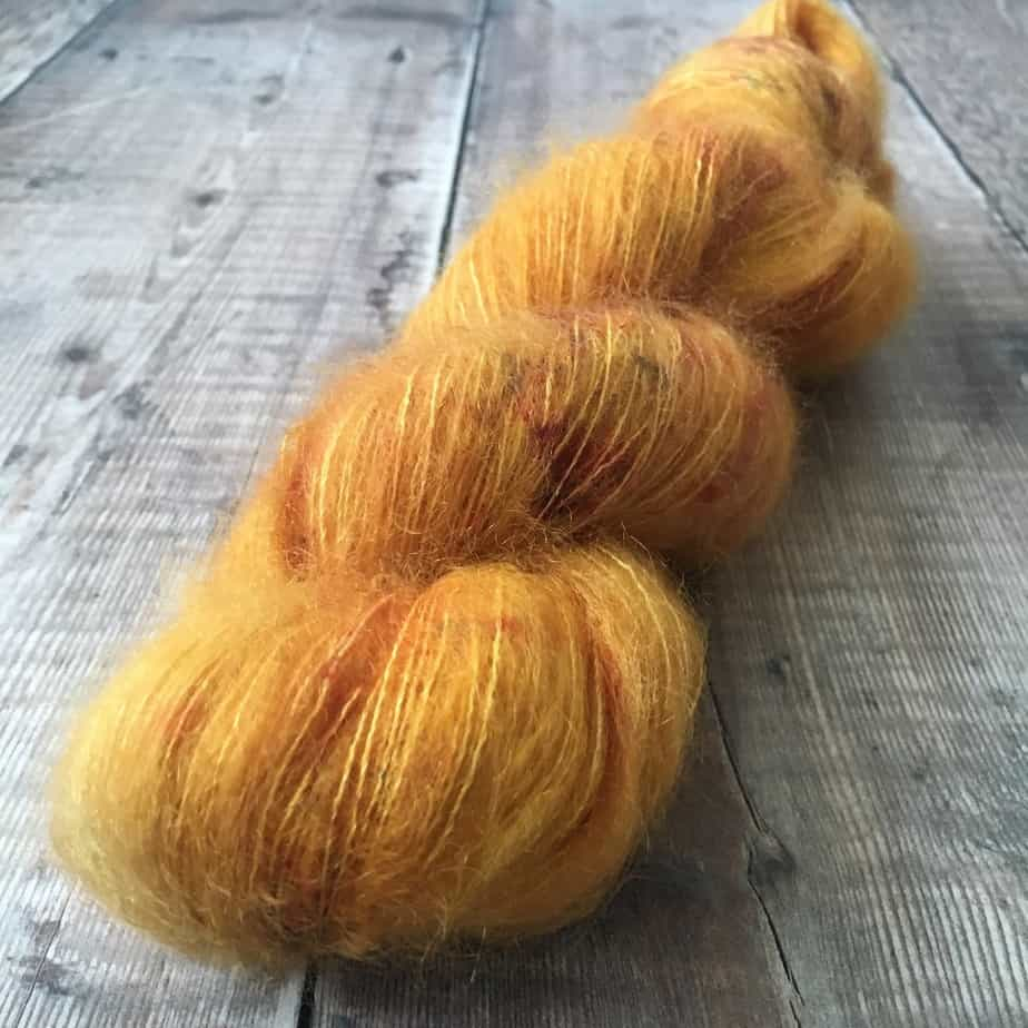 lace weight yellow yarn for knitting, crochet or felting – kid mohair and silk yarn by Eleanor Shadow