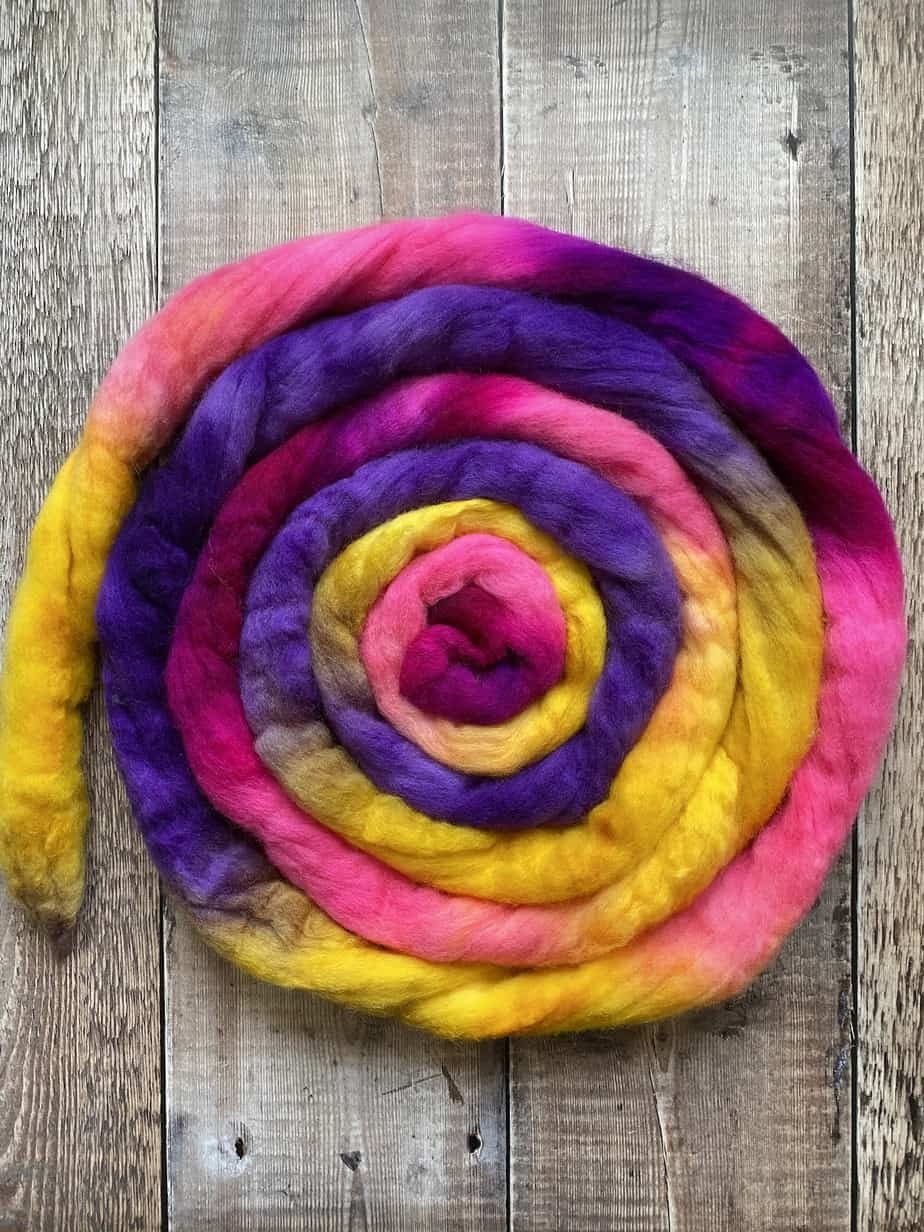 organic merino wool for spinning or felting, yellow pink and purple multicolour wool top – crafting fibre by Eleanor Shadow