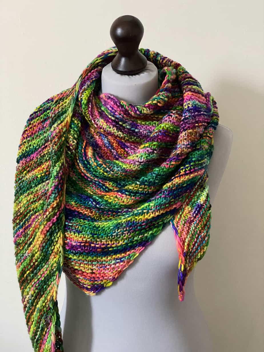 rainbow hand knit shawl