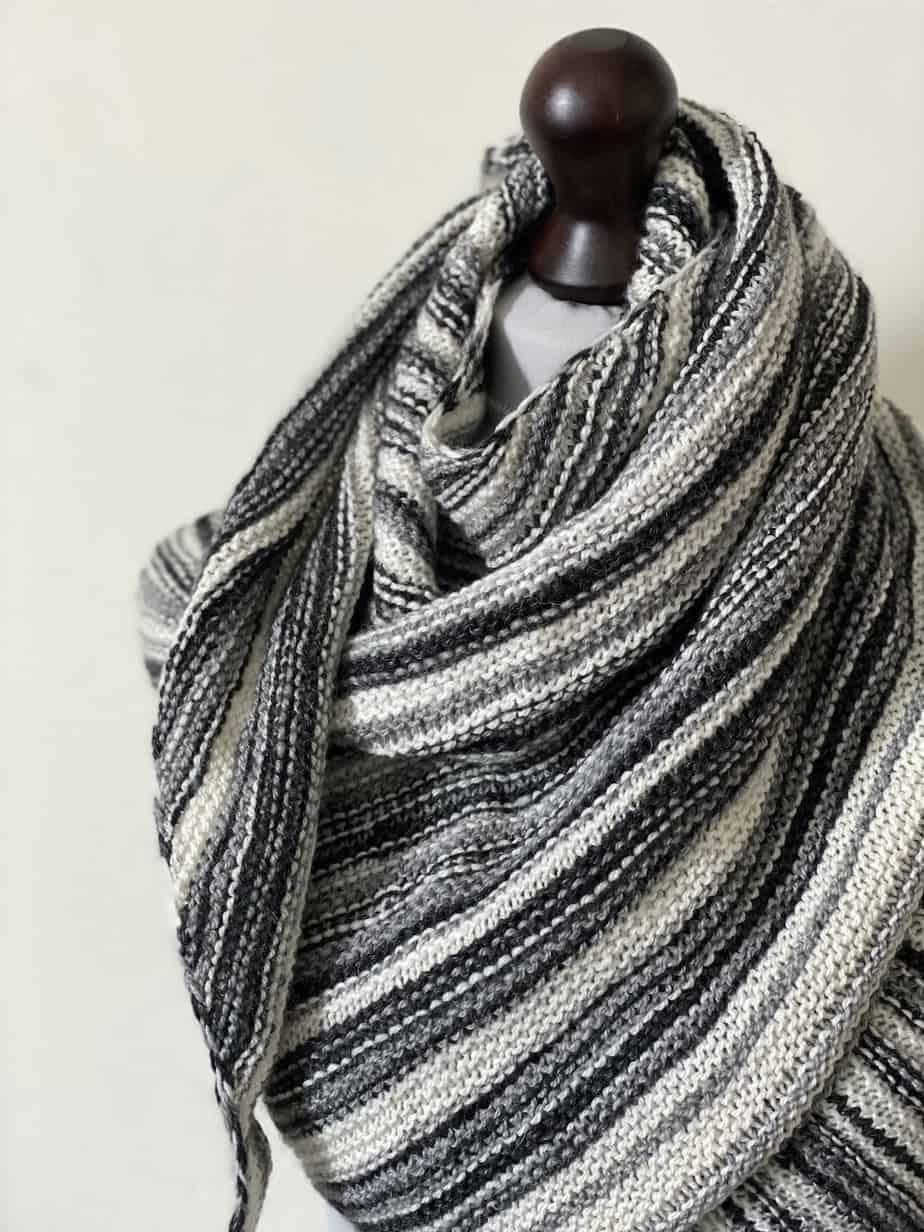 handmade garter stitch shawl for sale UK – monochrome