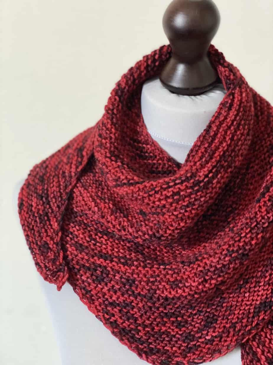 Red handmade scarf for sale – red hand knit garter stitch shawlette for sale UK