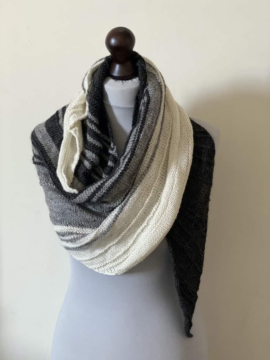 Hand knit shawl – black and white handmade wrap