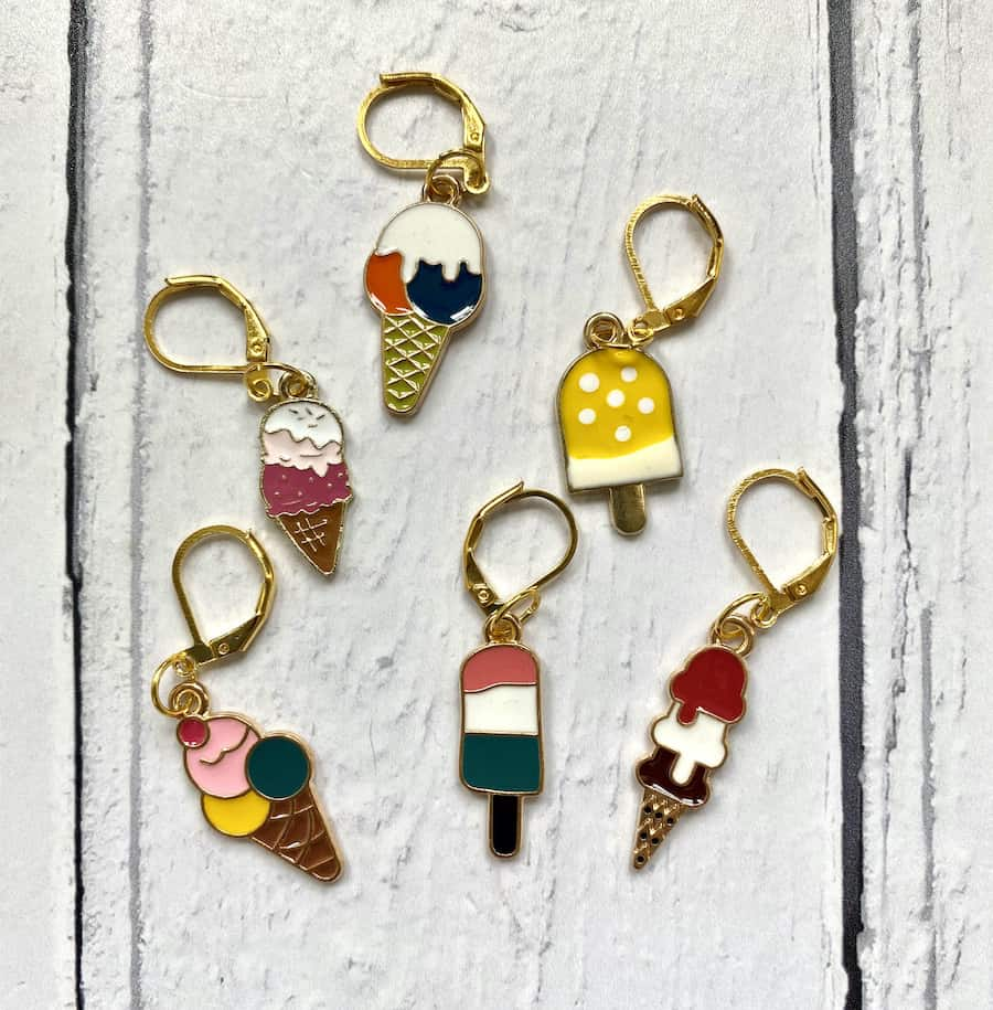 Ice cream stitch markers for knitting or crochet – enamel progress keepers for knitters and crocheters