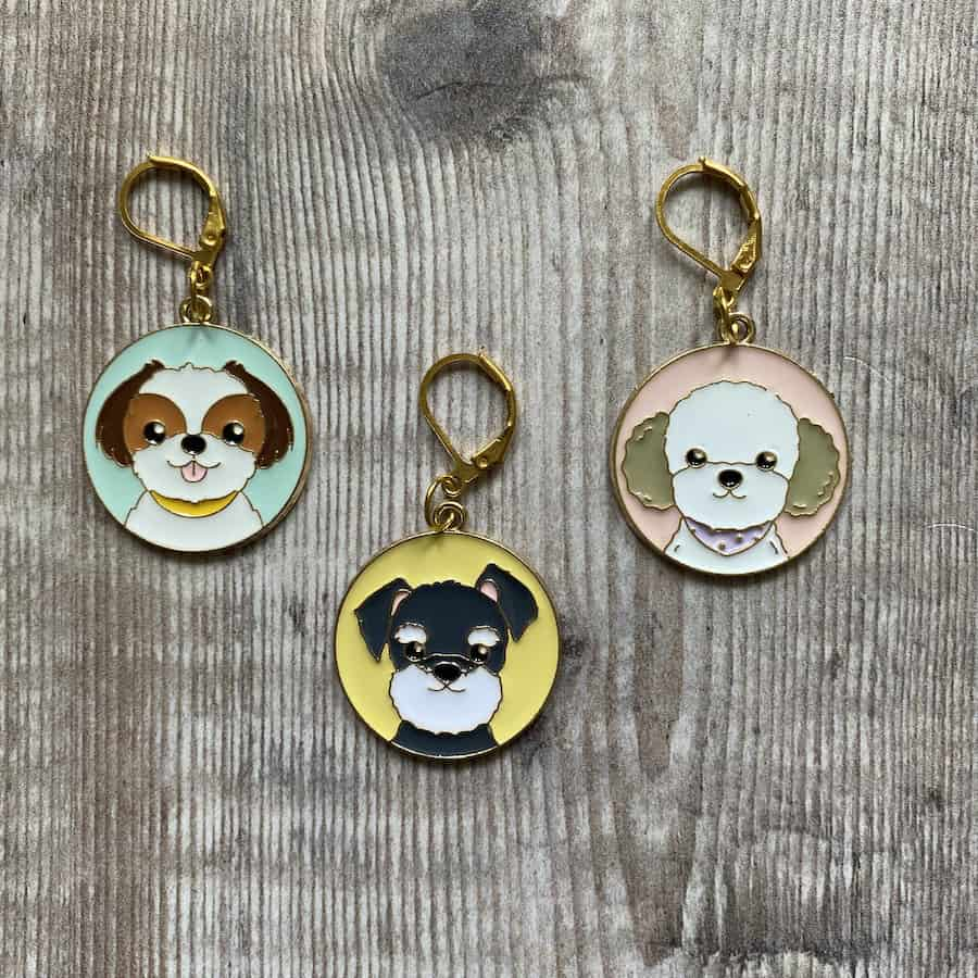 Dog stitch markers – progress keepers for knitting or crochet, set of 3