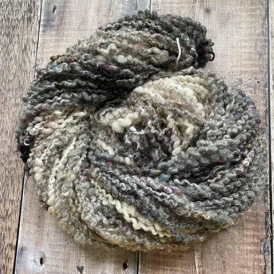 Eleanor Shadow core spun art yarn for sale, black grey and white bulky art yarn