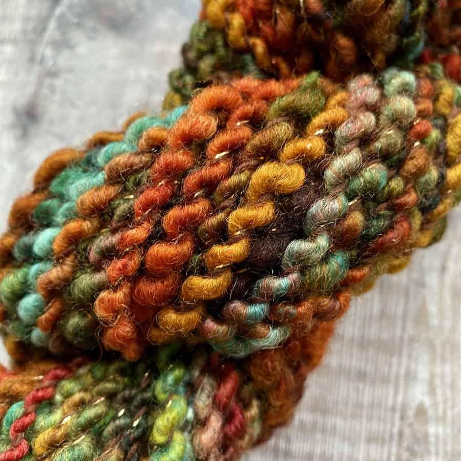 Handmade yarn – Autumn textured art yarn by Eleanor Shadow