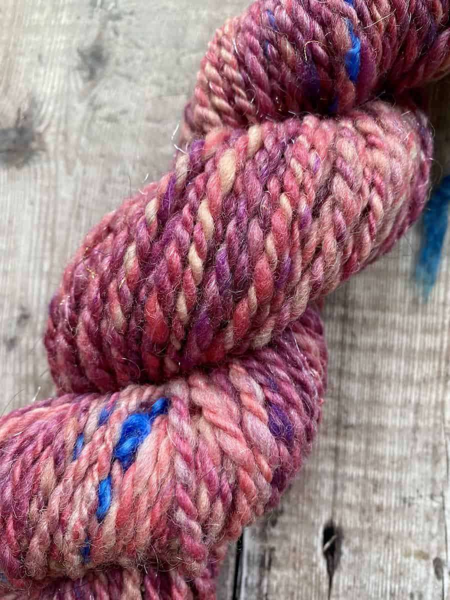 Super bulky art yarn – 2 ply hand spun purple and pink yarn with sparkle for sale