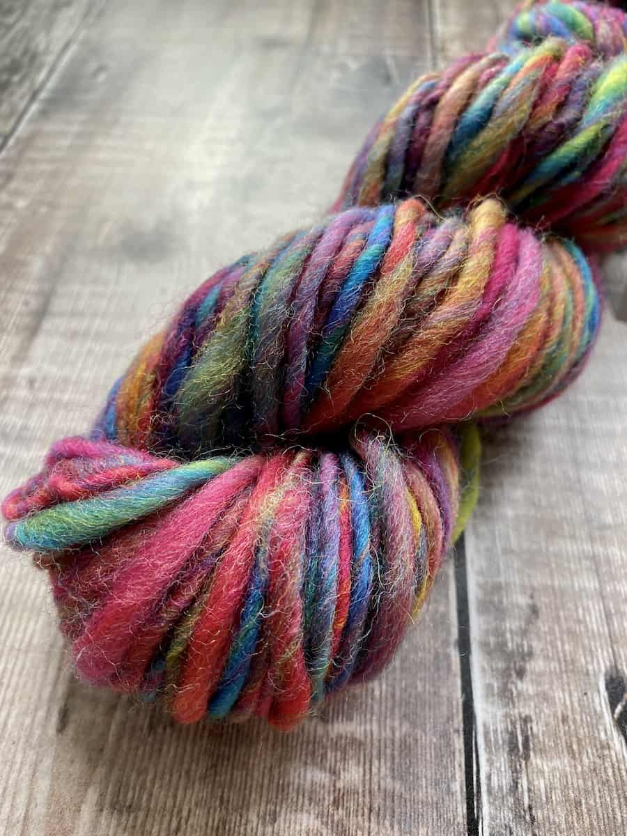 Thick and thin multicolour art yarn, single ply, by Eleanor Shadow