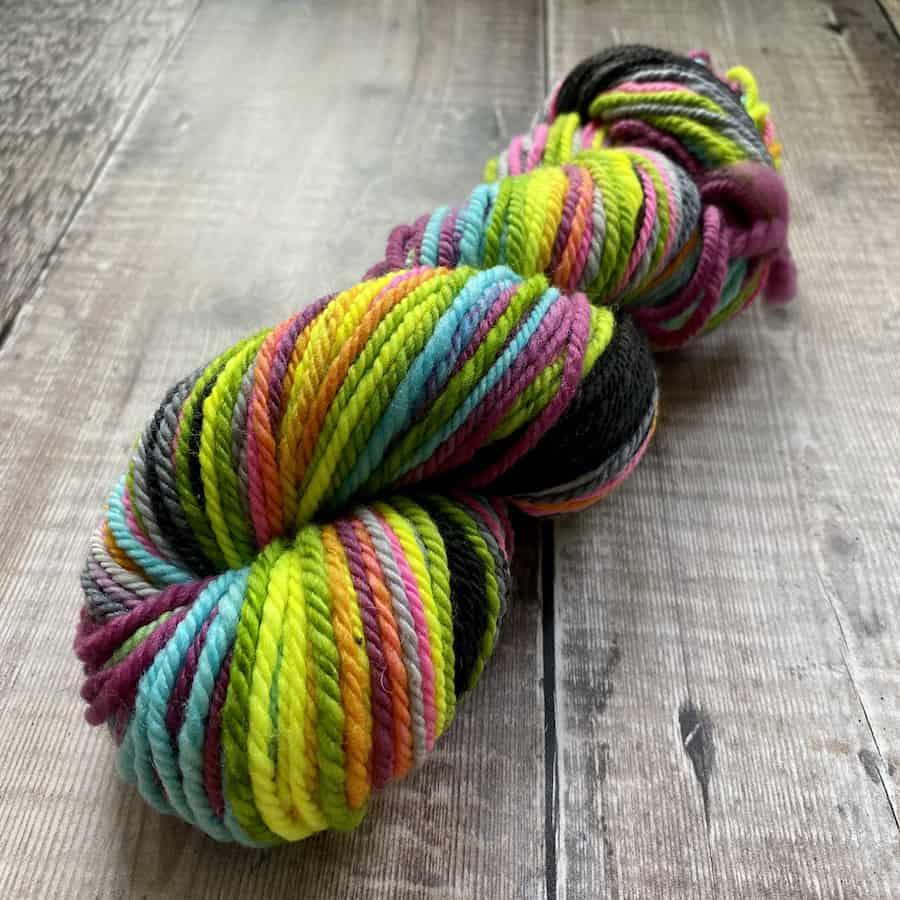 Rainbow neon Worsted weight hand spun yarn, by Eleanor Shadow